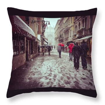 Throw Pillow featuring the photograph Venice In White by Thierry Bouriat