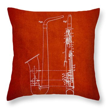 Saxophone Patent Drawing From 1899 - Red Throw Pillow by Aged Pixel