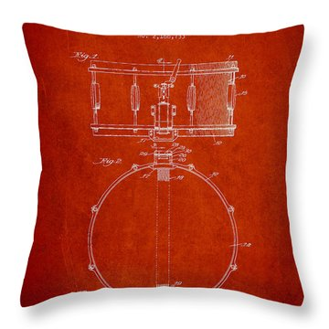 Snare Drum Patent Drawing From 1939 - Red Throw Pillow by Aged Pixel