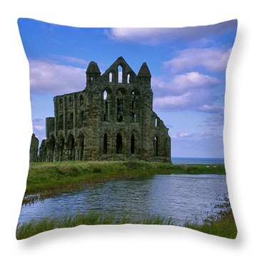 Whitby Abbey Throw Pillow by Trevor Kersley