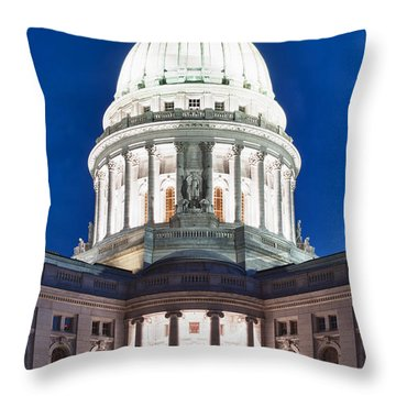 Wisconsin State Capitol Building At Night Throw Pillow by Sebastian Musial