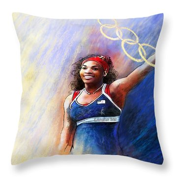 2012 Tennis Olympics Gold Medal Serena Williams Throw Pillow by Miki De Goodaboom