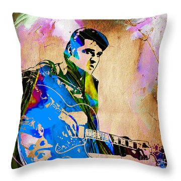 Elvis Presley Collection Throw Pillow by Marvin Blaine