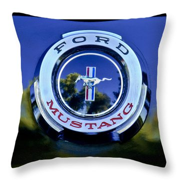1965 Shelby Prototype Ford Mustang Emblem Throw Pillow by Jill Reger