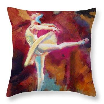 Ballet Dancer Throw Pillow by Corporate Art Task Force