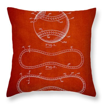 Baseball Patent Drawing From 1927 Throw Pillow by Aged Pixel