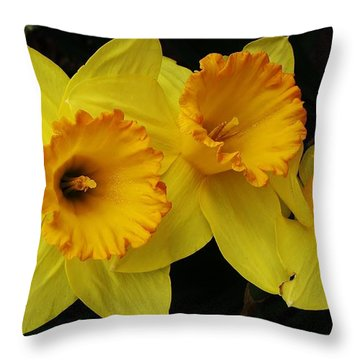 3 Blossoms In A Row Throw Pillow by Bruce Bley
