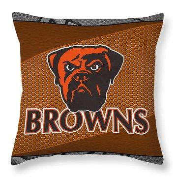 Cleveland Browns Throw Pillow by Joe Hamilton