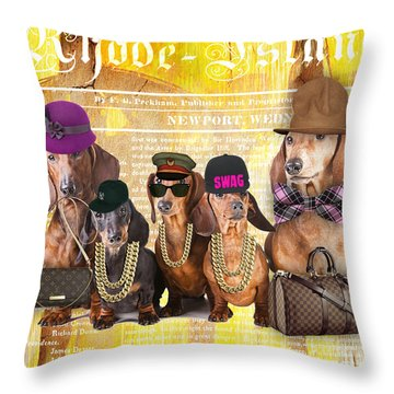 Dachshund Family Throw Pillow by Marvin Blaine