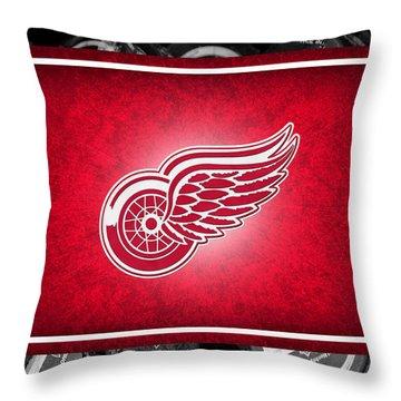 Detroit Red Wings Throw Pillow by Joe Hamilton