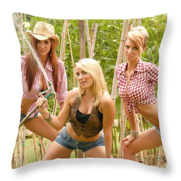 3 Farm Girls Throw Pillow by Jt PhotoDesign
