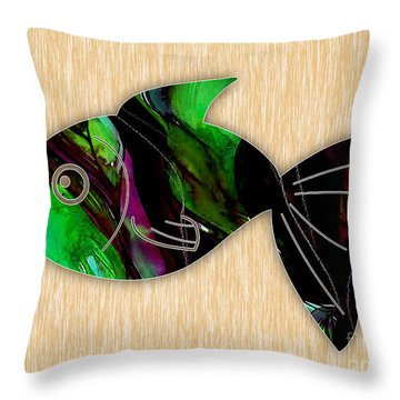 Fish Painting Throw Pillow by Marvin Blaine