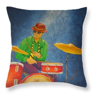 Jazz Drummer Throw Pillow by Pamela Allegretto