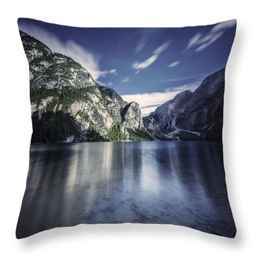 Lake Braies And Dolomite Alps, Northern Throw Pillow by Evgeny Kuklev