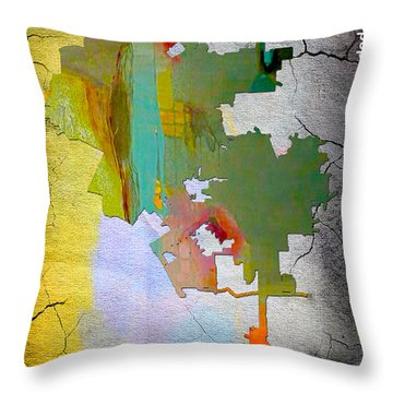 Los Angeles Map And Skyline Throw Pillow by Marvin Blaine