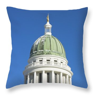Maine State Capitol Building In Augusta Throw Pillow by Keith Webber Jr