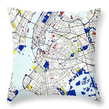 Map Of New York In The Style Of Piet Mondrian Throw Pillow by Celestial Images