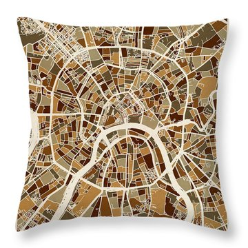 Moscow City Street Map Throw Pillow by Michael Tompsett