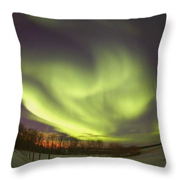 Northern Lights, Edmonton, Alberta Throw Pillow by Carson Ganci