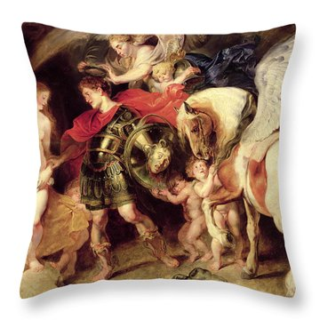 Perseus Liberating Andromeda Throw Pillow by Peter Paul Rubens