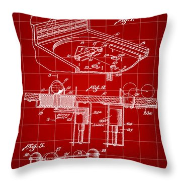 Pinball Machine Patent 1939 - Red Throw Pillow by Stephen Younts