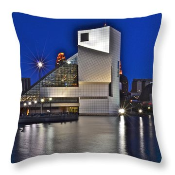 Rock And Roll Hall Of Fame Throw Pillow by Frozen in Time Fine Art Photography