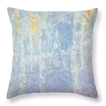 Rouen Cathedral Throw Pillow by Claude Monet