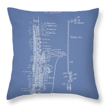 Saxophone Patent Drawing From 1928 Throw Pillow by Aged Pixel