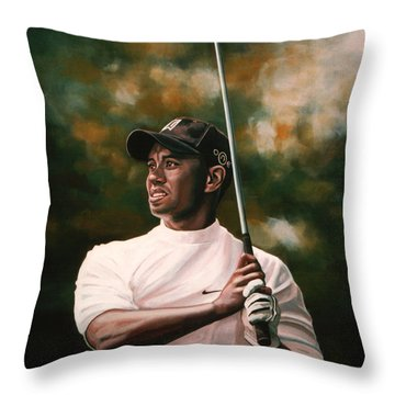 Tiger Woods  Throw Pillow by Paul Meijering