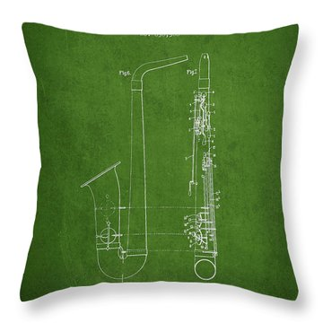 Saxophone Patent Drawing From 1899 - Green Throw Pillow by Aged Pixel