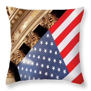 Wall Street Flag Throw Pillow by Brian Jannsen