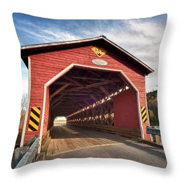 Wooden Covered Bridge  Throw Pillow by Ulrich Schade