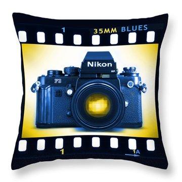 35mm Blues Nikon F-3hp Throw Pillow by Mike McGlothlen