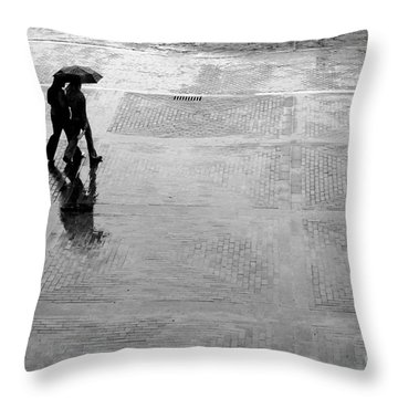 Alone In The Rain Throw Pillow by Michal Bednarek