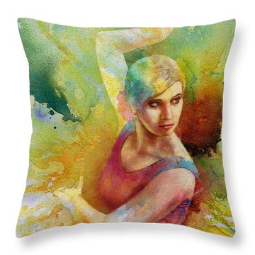 Ballet Dancer Throw Pillow by Corporate Art Task Force