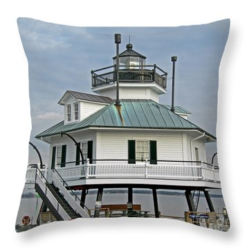 Hooper Straight Lighthouse Throw Pillow by Skip Willits