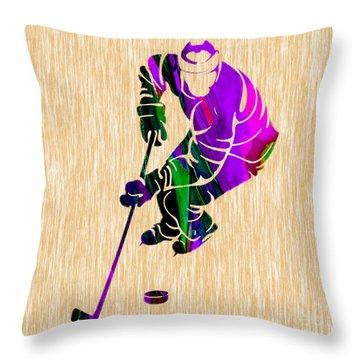 Ice Hockey Throw Pillow by Marvin Blaine