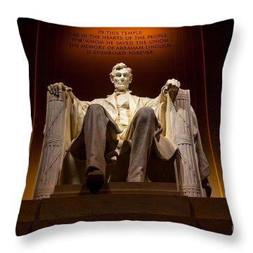 Lincoln Memorial At Night - Washington D.c. Throw Pillow by Gary Whitton