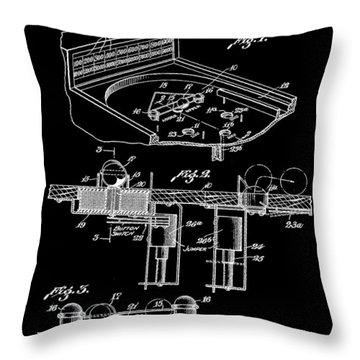 Pinball Machine Patent 1939 - Black Throw Pillow by Stephen Younts