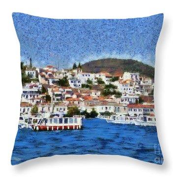Poros Island Throw Pillow by George Atsametakis