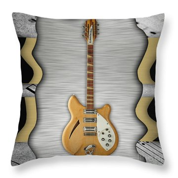 Rickenbacker Guitar Collection Throw Pillow by Marvin Blaine