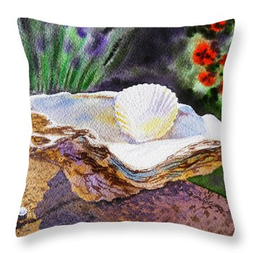 Sea Shell And Pearls Morning Light Throw Pillow by Irina Sztukowski