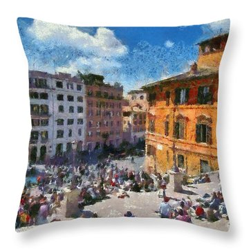 Spanish Steps At Piazza Di Spagna Throw Pillow by George Atsametakis