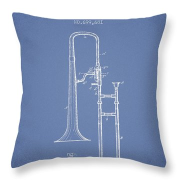 Trombone Patent From 1902 - Light Blue Throw Pillow by Aged Pixel