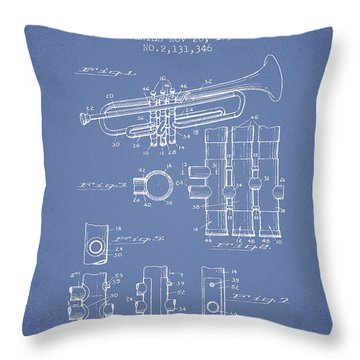 Trumpet Patent From 1939 - Light Blue Throw Pillow by Aged Pixel