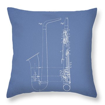 Saxophone Patent Drawing From 1899 - Light Blue Throw Pillow by Aged Pixel