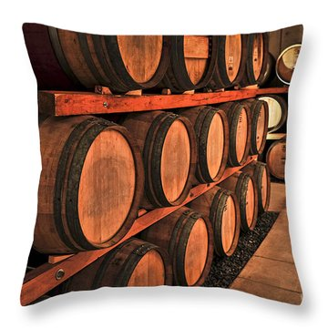 Wine Barrels Throw Pillow by Elena Elisseeva