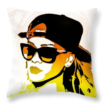 Rihanna Throw Pillow by Svelby Art
