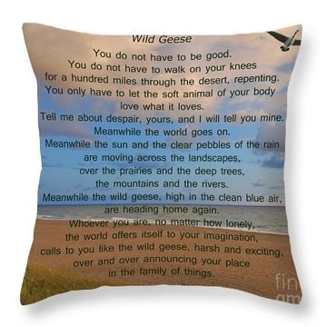 40- Wild Geese Mary Oliver Throw Pillow by Joseph Keane