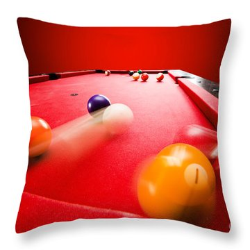 Billards Pool Game Throw Pillow by Michal Bednarek